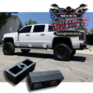 2 Rear Leveling Lift Blocks For Chevrolet Silverado Gmc Sierra Hd Steel Kit