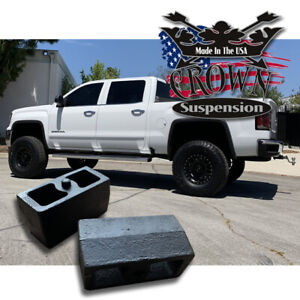3 Rear Leveling Lift Blocks For Chevrolet Silverado Gmc Sierra Hd Steel Kit