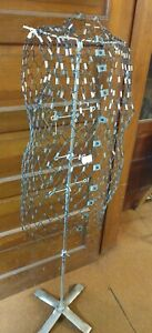 Vintage Wire Metal Adjustable Mannequin my Double Dress Form Display W Stand