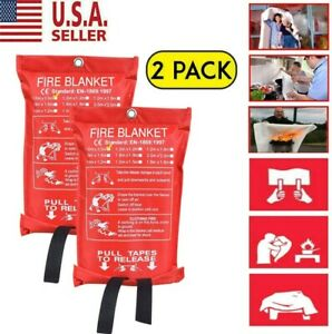 Emergency Fire Blanket 2 Pack Quick Release In Case For Home office 1mx1m Us