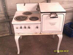 Vintage Ge Hotpoint Automatic Electric Range Stove Oven White Porcelain