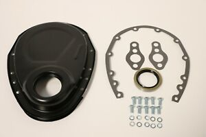 Black Sb Chevy Timing Chain Cover Kit 327 350 383 400 Sbc Gasket Seal Bolts Set