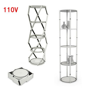 New 81 Round Aluminum Spiral Tower Display Case W Shelves Potable Five layer