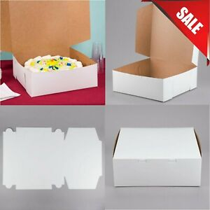 50 pack 14 X 14 X 6 White Bakery Pastry Cake Boxes Square Paperboard Sturdy