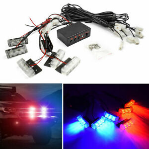 Red And Blue 18 X Led Emergency Vehicle Strobe Lights For Front Grille Deck