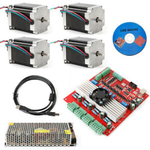 4axis Nema23 Stepper Motor 290oz in Single Shaft driver 3 5a Cnc Kit Engrave cd