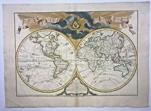World Map 1790 Delisle Dezauche Unusual Very Large Antique Engraved Map