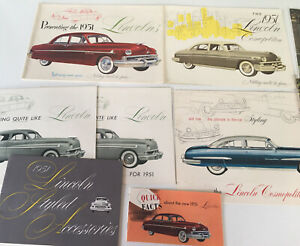 1949 50 52 Lincoln Large Prestige Sales Brochures Lot Of 19 Pc Manuals