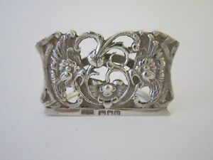 An Antique Edwardian Sterling Silver Menu Place Card Holder 1905 By Grey Co