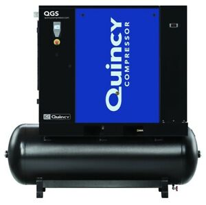 2020 Quincy Qgs 20 Rotary Screw Air Compressor 20 Hp W Dryer 120 Gallon Tank