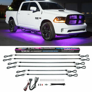 Ledglow 6pc Purple Led Slimline Truck Underbody Underglow Neon Lighting Kit