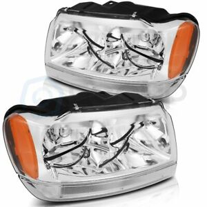Fits 1999 2004 Jeep Grand Cherokee Front Clear Headlamp Lights Replacement