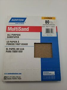 Norton 25ct 9 X 11 Multisand Sheets 80 Grit All Purpose Sand Paper Jobpack