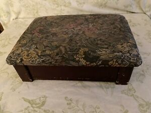 Vintage Tapestry Floral Fabric Wooden 11 X15 Foot Stool Hinged Lidded Storage