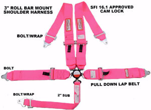Hot Pink Safety Harness Sfi 16 1 5 Point Roll Bar Mount 3 Racing Cam Lock Belt