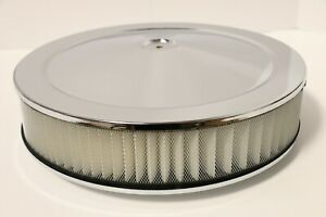 14 X 3 Round Chrome Air Cleaner Assembly Drop Base Chevy Sbc 350 Bbc 454 Paper