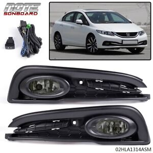 For 2013 2014 2015 Honda Civic Smoked Bumper Lights Driving Fog Lamps Switch