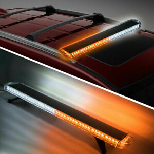 47 88led Emergency Warn Light Amber white Strobe Light Bar Roof Traffic Advisor