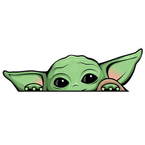 Baby Yoda Peeking Sticker Grogu Funny Mandalorian Phone Car Window Vinyl Decal