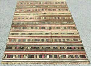 Native American Style Turkish Vintage Handmade Nomadic Authentic Kilim Rug 5x7ft