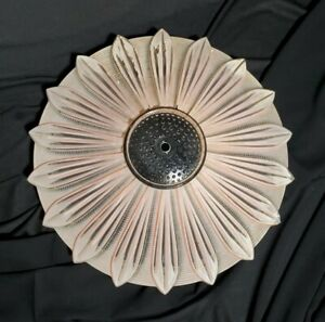 Antique Art Deco Frosted Pink Glass Sunflower Ceiling Light Shade 1930 40 S Nr