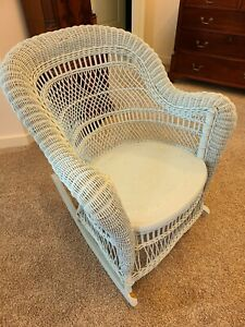 Vintage Wicker Rocking Chair With Pillows Handcrafted Ca 1920 1970 S