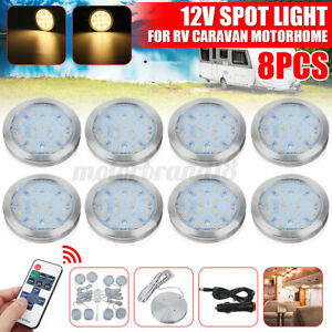 8x 12v Led Spot Reading Light Dimmer Wall Lamp Van Camper Trailer Rv Caravan