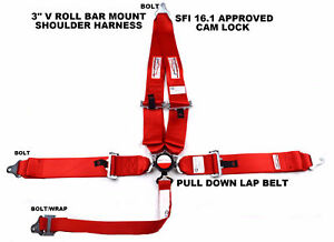 Red Safety Harness Sfi 16 1 Racing 5 Point V Mount 3 Cam Lock Seat Belt