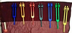 Tuning Fork Chakra Healing Set Of 7 Color Weighted With Mallet And Velvet Pouch