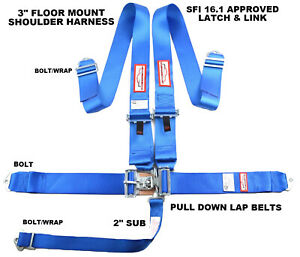 Blue Safety Harness 5 Point Sfi 16 1 Racing Latch Link 3 Floor Mount Bolt In