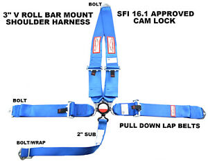Blue Safety Harness Sfi 16 1 Racing 5 Point V Mount 3 Cam Lock Seat Belt