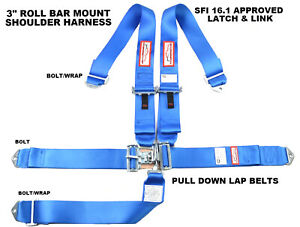 Sfi 16 1 Race Harness Blue Seat Belt Latch Link Sfi 16 1 Made In The Usa