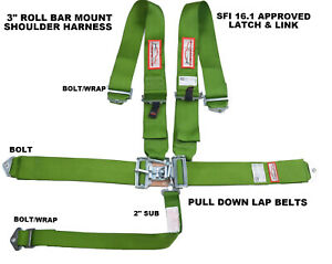 Lime Green 5 Point 3 Race Harness Sfi 16 1 Latch Link Bolt In Application