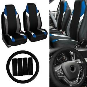 Front Bucket Highback Seat Covers Pair For Auto W Accessories Blue Black