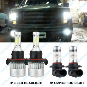 For Ford F 150 2004 2014 6000k Led Headlight Hi lo Fog Light 4 Bulbs Combo Kit