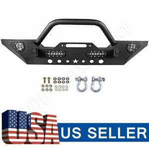 Mid Width Offroad Front Bumper Winch Plate Led Light For 07 18 Jeep Wrangler Jk