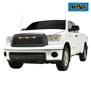 Eag Upper Grille Abs Led Front Hood Black Fits 10 13 Toyota Tundra