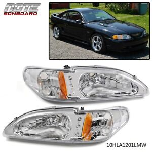 Pair For 94 1998 Ford Mustang Clear Chrome Lens Fog Lights Headlight Led Drl