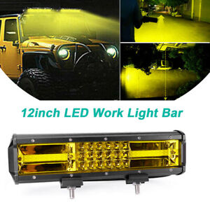 12inch 540w Led Work Light Bar Tri Row Off Road Suv Amber Driving Fog Lamp