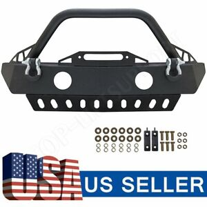 Front Winch Bumper W Fog Light Hole Skid Plate For 2007 2018 Jeep Wrangler Jk