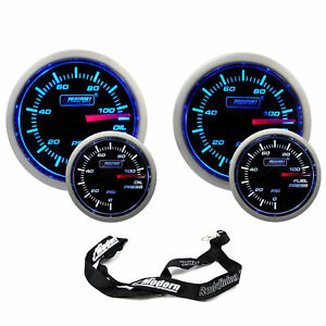 Prosport 52mm Universal Electric Blue White Gauge Kit Oil Fuel Pressure