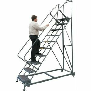 Ballymore Sw1232p 12 Steps 120 H Steel Rolling Ladder 450 Lb Load Capacity