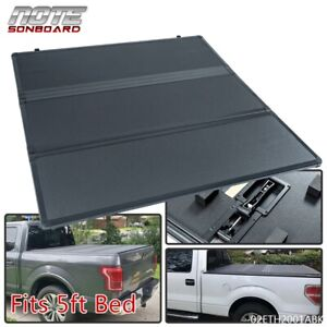 Fit For 05 2015 Toyota Tacoma 5ft Short Bed Hard Locking Tri Fold Tonneau Cover