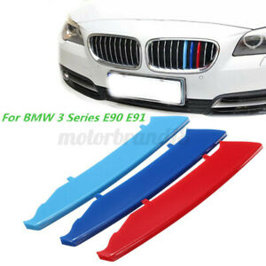 M Color Kidney Grill Bar Decal Strip Cover Clip For Bmw 3 Series E90 E91