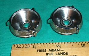 2 Vintage Auto Radio Knobs Outside Pair 1 3 8 Inch Chrome Clean 1950s 3916728