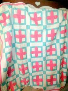 Vintage Hand Stitched Pink Green Quilt Square W Cross Pattern