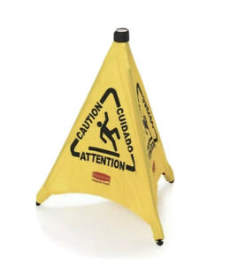 Rubbermaid 9s01 Fg9s0100yel 30 Pop up Safety Cone Wet Floor Symbol Caution New
