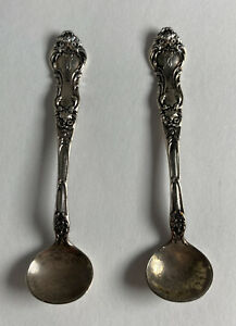 Vintage Sheffield Sterling Silver Salt Spoon Floral Design 5 75g Each 2x