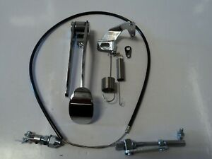 Chrome Spoon Gas Pedal Black Throttle Cable Bracket Spring Combo Deal Kit