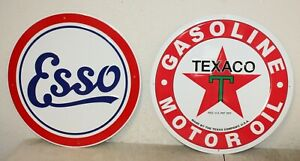 2 Large Vintage Style 24 Texaco Esso Gas Station Signs Man Cave Garage